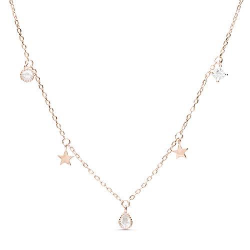 LUXENTER Collar Estrella con baño Oro Rosa de 18 Quilates