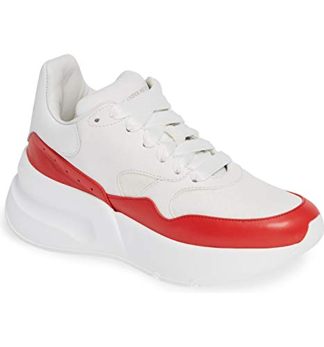 Alexander McQueen Oversized Lace-Up Sneaker Pelle S.Gomm Joellarry Size 40.5 White/Red