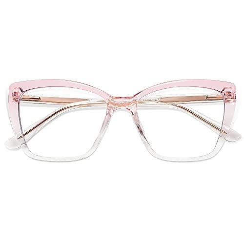 AMOMOMA Trendy TR90 Oversized Blue Light Reading Glasses Women,Stylish Square Cat Eye Glasses AM6031C4 with Pink Crystal Grading Frame 0.0 x