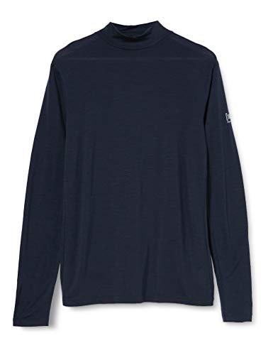 Super.natural Tee-shirt Manches Longues pour Hommes, Laine mérinos, M BASE TURTLE NECK 175, Taille: L, Couleur: Bleu foncé
