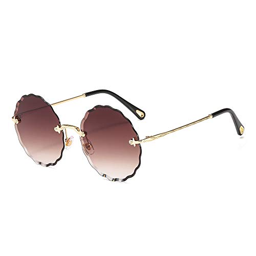 WDTYYJ Nuovi Occhiali da Sole a Forma di Prugna a Forma di Fiore Occhiali da Sole Senza Bordo con Bordo a Onda 3
