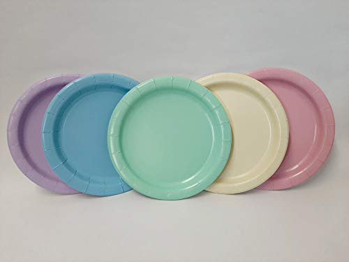 Balloonarama 10 Soft Pastel Rainbow 7' Paper Plates - Rainbow Theme Party, Pride, Unicorn - Biodegradable!