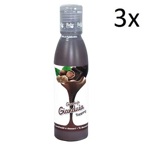 3x Halta Mini Topping Gianduia sauce Gianduja 180 g für Desserts, Kuchen, Eis