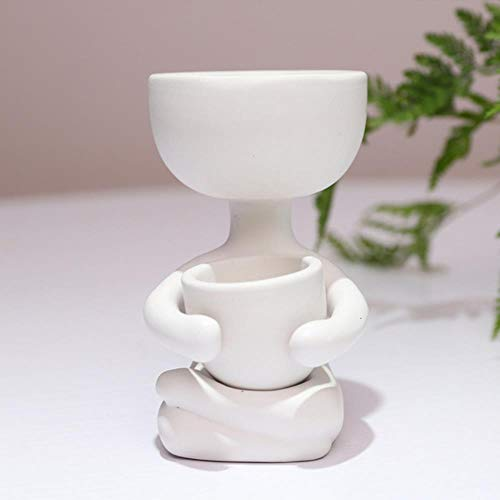 BHG Ceramic Flower Pot Design Planter Flower Pot Crafts Vase Home Decoration,White B