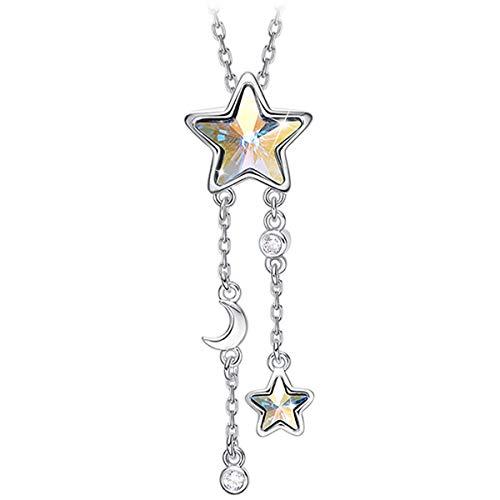 CRYSLOVE - Collana con ciondolo a forma di stella, da donna, con ciondolo a forma di stella, alla moda, con confezione regalo