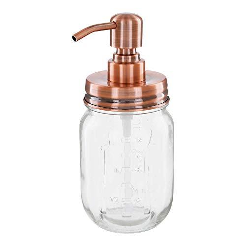 Altglas Vintage Seifenspender aus Retro Mason Jar 473 ml mit Edelstahl Pumpkopf (Vintage Kupfer)