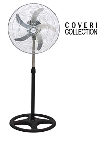 Enrico Coveri Ventilatore A Piantana In Acciaio Con 5 Pale In Alluminio, Altezza 125 Cm Regolabile, 3 Velocità, 65 Watt Di Potenza