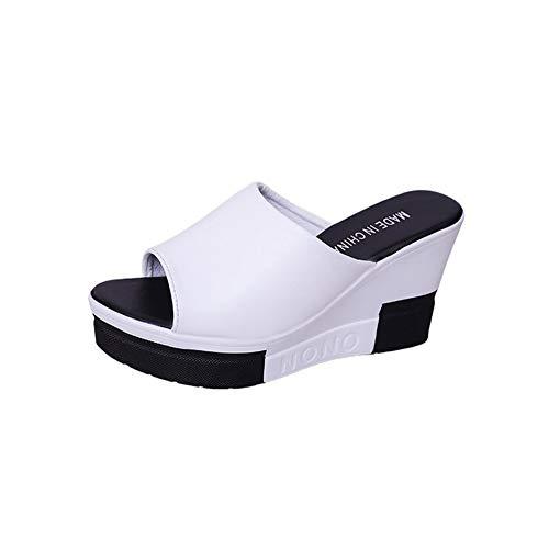 NVSRZTX Damen Frauen Flip Flop Plateau Slipper Peep-Toe Schuhe Keilabsatz Sandalen,White,39