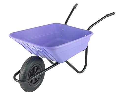 Walsall Wheelbarrows 90Ltr Shire Plastic Green Wheelbarrow Barrow in a Box, Lilac - Pneumatic Wheel