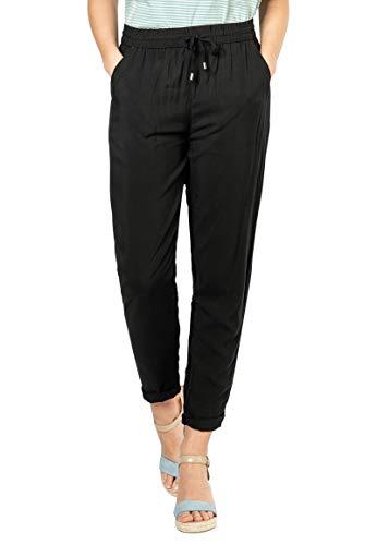 Sublevel Damen Stoff-Hose mit Bindegürtel aus Viskose Black L
