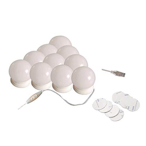 SDENSHI Bombillas Regulables Hollywood LED Vanity Mirror de 10 Piezas para Tocador de Maquillaje - Adhesivo, Individual