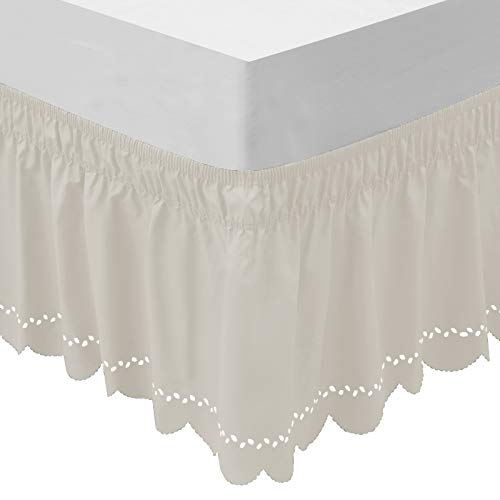 OBYTEX Wrap Around Bed Skirts Fashional Elastic Dust Ruffle Silky Soft & Wrinkle Free Classic Stylish Look in Your Bedroom (Cream, Twin/Full)