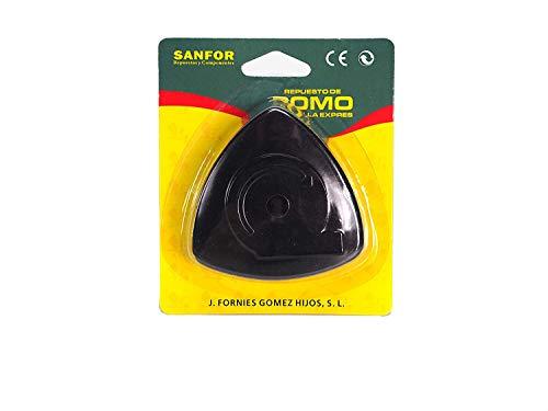 Sanfor Pomo olla adaptable a magefesa tradicional con tornillo | Negro | Blister pomo Triangular Convencional para ollas de presion | 8 x 8 x 2,5 cm