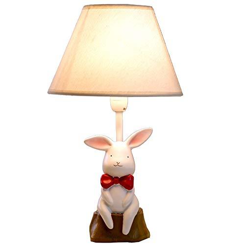 YU-K Kleine witte konijntjes schattige bureaulamp slaapkamer bedlampje dimbare LED warme en romantische cadeau-ideeën voor kinderen, 25 x 43 cm,