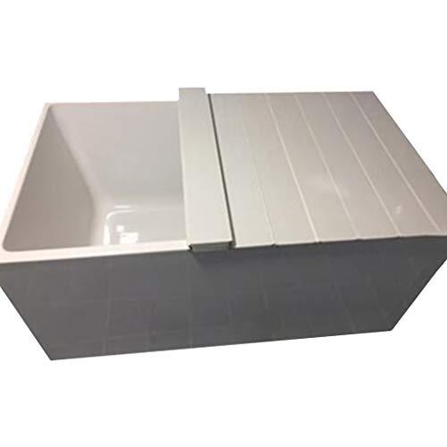 LwBathtub isolerende badkuip, wit hout kleur badkuip opbergplaat, stofdichte isolatieafdekking voor badkamer of badkuip
