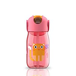 Zoku ZK201-PK Pink Kids Flip Straw Bottle, 415ml