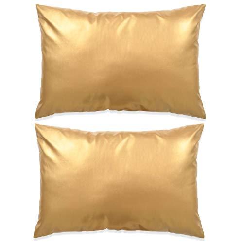 Zora Walter - Juego de 2 Cojines Cojín de sofá (Poliuretano, 40 x 60 cm), Color Dorado