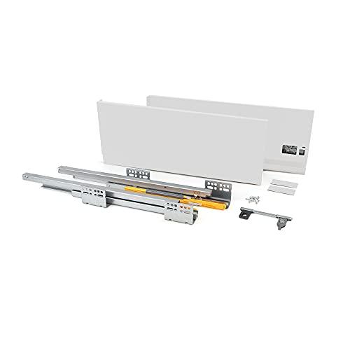 EMUCA - Kit de cajón para Cocina o baño con guias de extracción Total y Cierre Suave, Altura 185mm y Profundidad 500mm, Blanco
