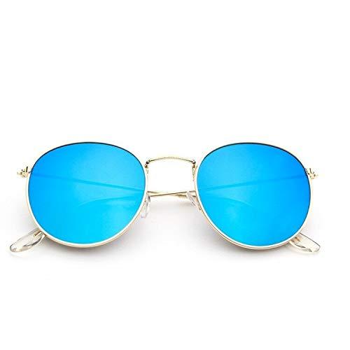 xingguang Gafas de sol para mujer 2020 Classic Vintage Oval Gafas de sol Gafas de sol Gafas de sol Espejo Redondo Pequeño Marco de Metal (Color de la lente: C21 Oro Azul Espejo)