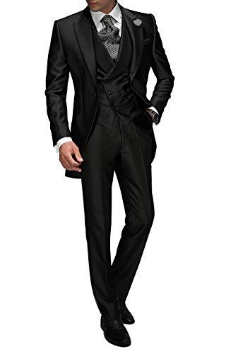 Suit Me Tailored Herren 3-Teilig Anzug Fuer Hochzeiten Party Smoking Anzug Sakko,Weste,Hose Charcoal XL