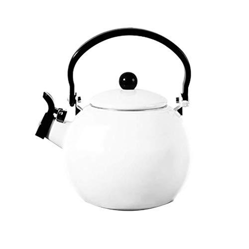 Fluitende Theepot Emaille Ketel Inductie Veilig Kookpot met Anti-Slip Handvat voor Huishoudelijke Theepot Kleur: wit