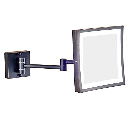 HIL 20 x 20 cm voor Frans bed, met spiegel voor make-up, spiegel voor badkamer en badkamer, inklapbaar, van roestvrij staal, vergroting van glas, chroom/goud/zwart/zilver geborsteld