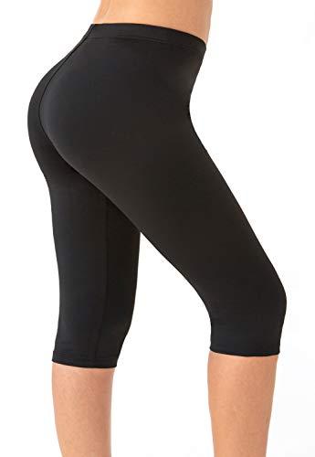 Bamans Leggings Pirata de Yoga para Mujer, Pantalones Deportivos 3/4, Pantalones para Correr, Gimnasio, Deporte, Entrenamiento, Yoga (Negro, x-Large)