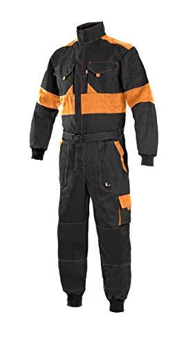 LUXY Canis CXS Robert Arbeitsoverall Herren Arbeitsanzug Schutzanzug Reißverschluss Overall Einteiler für Maler Baumwolle Gärtner Rallye Kombi Mechaniker Taschen Schutzkleidung; schwarz orange; (56)