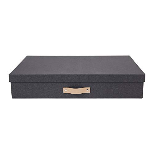 Bigso Box of Sweden Dokumentenbox für Unterlagen im A3-Format – Schreibtischablage mit Deckel und Griff – Aufbewahrungsbox aus Faserplatte und Papier in Leinenoptik – Dunkelbraun