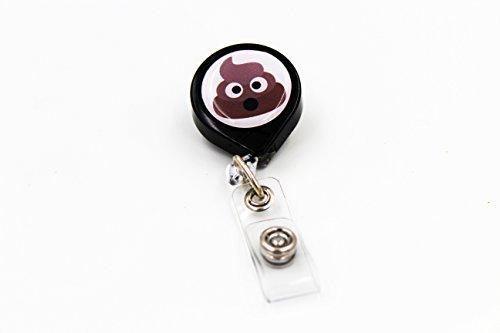 Key-Bak Mini-Bak Emoji Retractable Reel with 36-Inch Nylon Cord, Steel Belt Clip and Vinyl ID Strap (Emoji - Pile of Poo, Black)