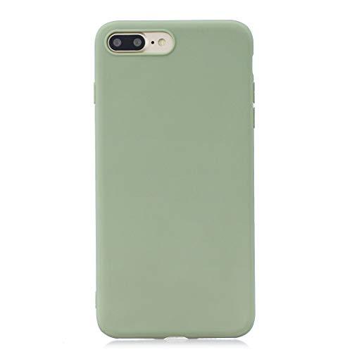 BSA Carcasa para Apple iPhone 8 Plus 7 Plus verde pisello TPU flexible suave ultra fina antiarañazos HD funda compatible smartphone