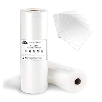 Wevac Vacuum Sealer Bags 11x50 Rolls 2 pack for Food Saver, Seal a Meal, Weston. Commercial Grade, BPA Free, Heavy Duty, Great for vac storage, Meal Prep or Sous Vide