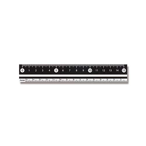 RF 見やすい白黒定規 15cm ブラック APJ188B 2個セット