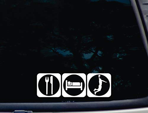 DKISEE Calcomanía de vinilo impermeable de 6 pulgadas para comer sueño, baloncesto, coches, ventanas, espejos, ordenadores portátiles, dispositivos móviles