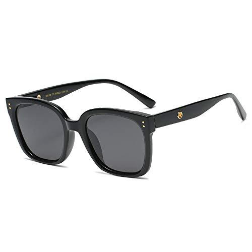 Gafas de sol polarizadas con protección UV para mujer, diseño retro, cuadrado, clásico, grande, negro, moteado (color: negro)