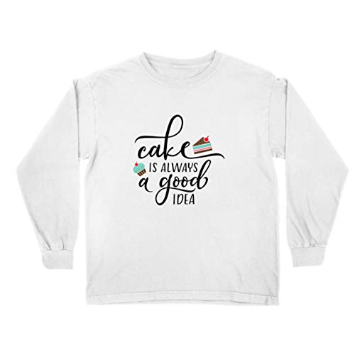 lepni.me Kinder-T-Shirt mit Langen Ärmeln Kuchen ist Immer eine Gute Idee Liebe Kochen Backen Essen (5-6 Years Weiß Mehrfarben)