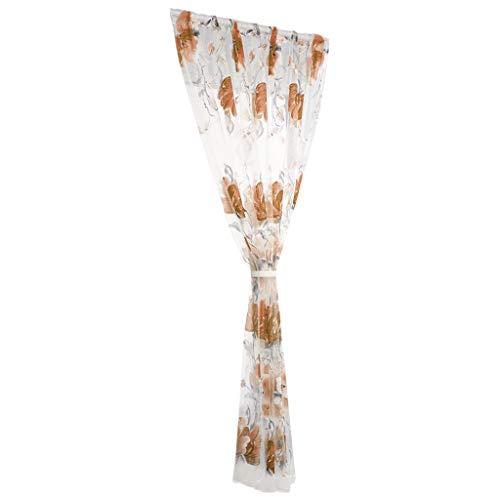 SUCES Sheer Vorhang mit Stangen Aufhängung transparent Gardine1 Stücke Gaze paarig schals Fensterschal Vorhänge 200cm x 100cm (L x W),Gardinen Vorhang für Wohnzimmer Schlafzimmer (Coffee)