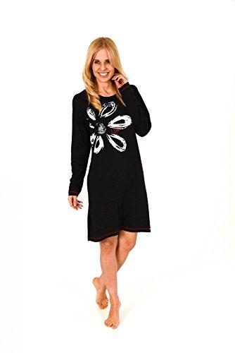 Unbekannt Damen Sleepshirt Nachthemd Langarm Bigshirt mit plazierten Druck 58752 B - 58754 B, Größe2:40/42, Farbe:schwarz