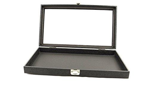 Box Displays Display Storage Tray Case Snap Close Glass lid - BD83-1C Jewellery Display Storage Box Tray Case Organiser - Black