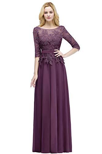 MisShow Damen 2018 Abendkleider lang elegant für Hochzeit A Linie Chiffon Promkleider Violett Gr.38