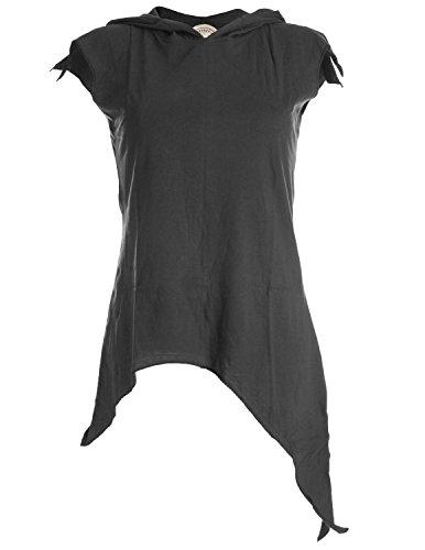 Vishes - Alternative Bekleidung –Pixie Zipfelshirt mit Zipfelkapuze aus Baumwolle schwarz 34