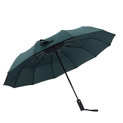 Paraguas Paraguas El Paraguas se Puede Plegar hasta 140 Km/H, Puede Abrir y Cerrar automáticamente 12 Varillas, Acero Inoxidable, Resistente al Viento, Compacto, Ligero y Estable