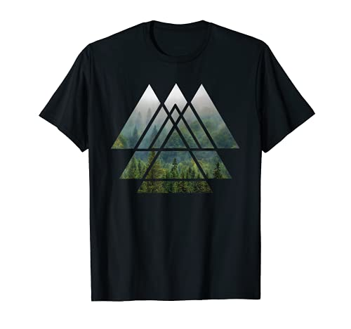 Sacred Geometry Triangles - Misty Forest T Shirt Design