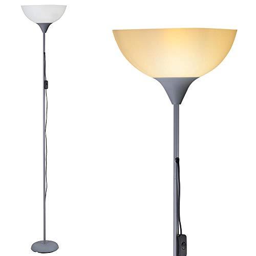 Bakaji Lampada da Terra Piantana Design Moderno In Metallo con Paralume E27 Max 40W Altezza 180cm per Casa Salotto Camera letto (Paralume Ovale)