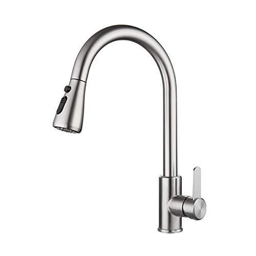 MOPOIN Küchenarmatur Ausziehbar, Wasserhahn Küche Schwenkbar 360° aus Edelstahl Küchenarmatur Ausziehbar mit 2 Strahlarten Hochdruck Spültischarmatur für Waschbecken