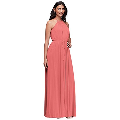Soft Mesh Halter Bridesmaid Dress with Slim Sash Style F19533, Coral Reef, 26