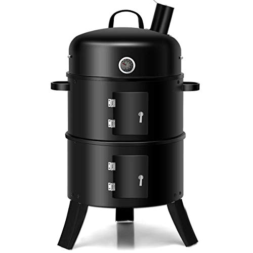 Charcoal Smoker Grill Combo Heavy Duty Vertical 20 Inch BBQ