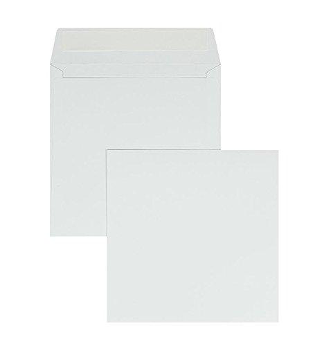 Briefumschläge in Hochweiß, Offset, 100 Stück, Weiße Kuverts in 155 x 155 mm, Haftklebung, Blanke Briefhüllen, Ohne Fenster, Gerade Klappe, 120 g/qm
