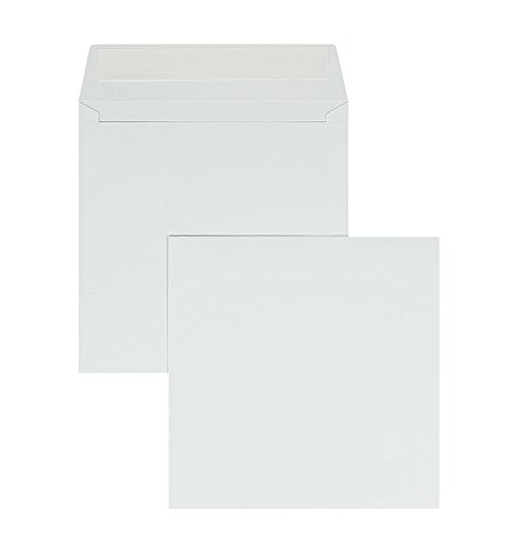Blanke Briefhüllen, Briefumschläge, 100 Stück, Haftklebung mit Abziehstreifen, Ohne Fenster, Gerade Klappe,155 x 155 mm, 120 g/qm Offset, Weiß