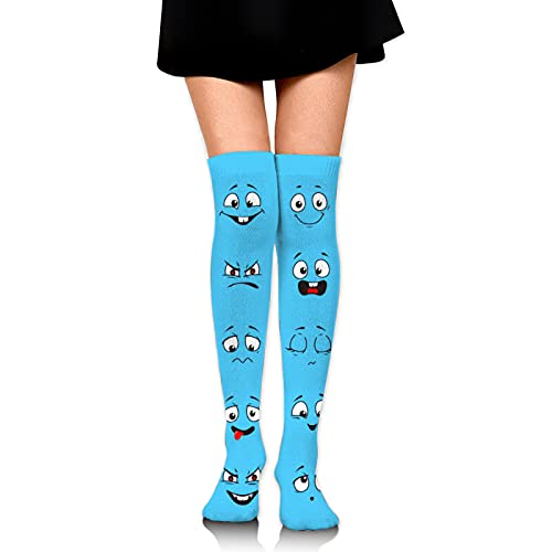 Boca de dibujos animados de las mujeres botas calcetines transpirables a prueba de sudor largo rodilla calcetines calcetines muslo botas altas medias unisex talla única
